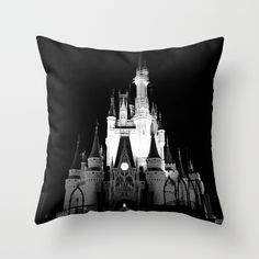 Disney - Cinderella's Castle Black and White Throw Pillow