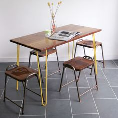Yellow Hairpin Leg Reclaimed Iroko Desk or Table Hairpin Dining Table, Unique Desks, Hairpin Legs, Table Desk, Hair Pins, Sweet Home, New Homes, Dining Room, Home And Garden