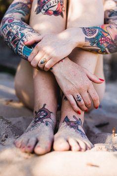 Love the diamond tattoo on her ring finger
