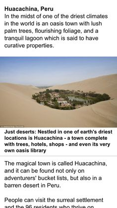 Interesting in terms of sustainability Places Around The World, Oh The Places You'll Go, Cool Places To Visit, Around The Worlds, Vacation Places, Places To Travel, Travel Destinations, Vacations, Huacachina Peru