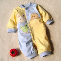 Nice 2016 newborn baby boy winter clothes100% Cotton Long Sleeve Baby Rompers Soft Infant Baby girl Clothing Set Jumpsuits - $23.94 - Buy it Now!
