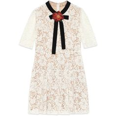 Gucci Lace Dress (£1,900) ❤ liked on Polyvore featuring dresses, ready to wear, women, white pleated dress, gucci dresses, flower print dress, floral lace dress and fitted tops