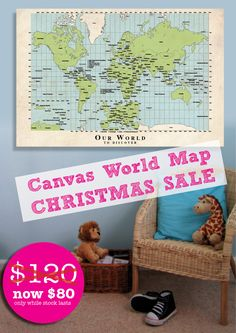 Educational, non-gender specific and fun for all ages this canvas World Map will delight for years!     Your World Map is professionally printed with an 'aged paper' background to give your child the feeling of being an old-world discoverer! Measuring 60x90cm and gallery wrapped onto a 3cm deep frame.    Reading 'Our World to Discover' this is a great item to share as a family or to adorn your child's room.