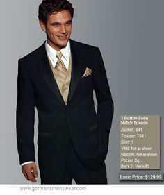 black / champagne wedding tuxedo rentals | TUXEDO RENTALS - Please use links to the right to see Suits and ...