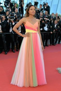 Naomi Harris - Colourful gown - Cannes 2017