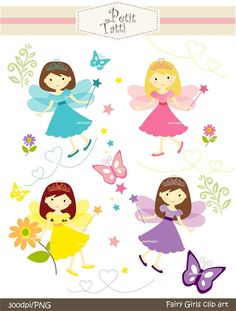 girl clip art, cute fairy clip art , Digital clip art  for all use, fairy girls. $4.80, via Etsy.