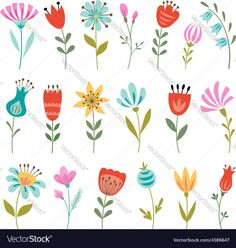Set of colorful flowers isolated on white background. Download a Free Preview or High Quality Adobe Illustrator Ai, EPS, PDF and High Resolution JPEG versions.
