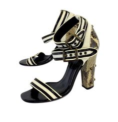 Proenza Schouler Black & Cream Striped Leather Heels