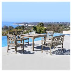 Every piece of our Renaissance Outdoor Dining Set is hand scraped that looks like a distressed heirloom piece of furniture.  This hand-scraped hardwood dining set is a unique way to display your personal style. Made from 100% Acacia hardwood that is native to Australia  and Asia and used in the construction to make excellent and high quality furniture.