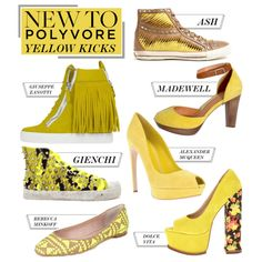 """New to Polyvore: 7 Yellow Kicks Worth Wearing"" by polyvore-editorial on Polyvore...Just DO NOT dig the floral."