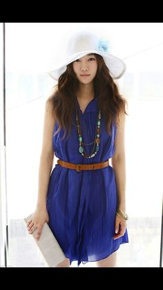 Casual blue dress w/ brown fitted belt