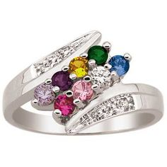 Mother's Simulated Birthstone and Diamond Accent Bypass Family Ring in Sterling Silver (2-8 Stones) - View All Personalized Jewelry - Zales
