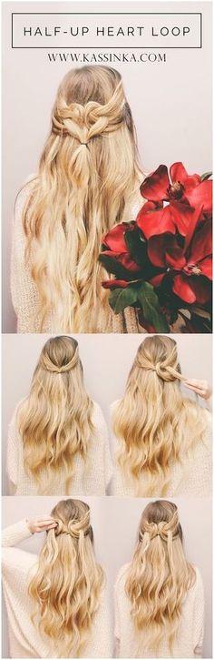 Super Easy DIY Braided Hairstyles for Wedding Tutorials Herzform-Haar-Tutorial (Kassinka) / www. Braided Hairstyles For Wedding, Braided Hairstyles Tutorials, Trendy Hairstyles, Girl Hairstyles, Hairstyle Ideas, Hair Ideas, Wedding Hairdos, Braid Tutorials, Wedding Braids