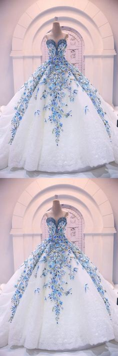 Stunning White Lace Quinceanera Dresses with Blue Appliques Beaded,Sweetheart Wedding Dress w. , Stunning White Lace Quinceanera Dresses with Blue Appliques Beaded,Sweetheart Wedding Dress with Long Train, White Wedding Dresses, Elegant Dresses, Pretty Dresses, Beautiful Dresses, Wedding White, Dress Wedding, Wedding Lace, Lace Weddings, Quince Dresses