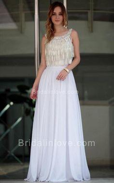 A-line Scoop Floor Length Diamante Changeable Silk Prom Dress