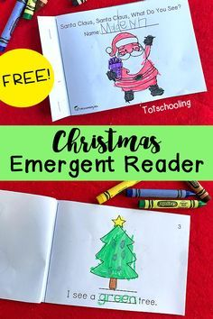 "FREE Christmas emergent reader book ""Santa Claus, Santa Claus, What Do You See?"" for kindergarten and preschool to practice easy sight word reading, tracing words and coloring."