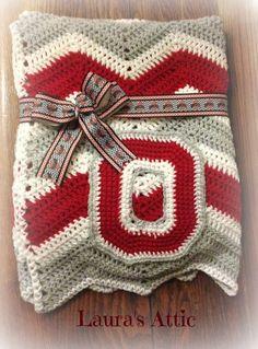 Ohio State Themed Baby Afghan/Blanket-Handmade