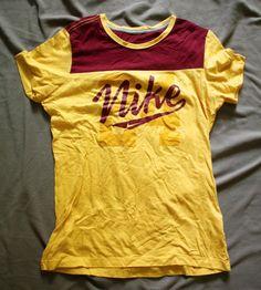Vtg Nike T Shirt Juniors Girls Large Slim Fit Short Sleeve Red Yellow | eBay