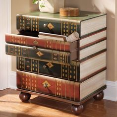 Bookish drawers~ what every book lovers' home needs. Book Furniture, Home Decor Baskets, Book Nooks, Altered Books, Book Crafts, Bookshelves, Bookcase, Accent Decor, Decorative Accents