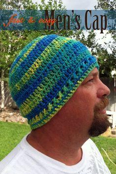 Mens Fast and Easy Cap - Free crochet pattern by Gem Owen. Crochet Mens Hat fd12785375d