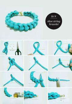 Maiko Nagao - diy, craft, fashion + design blog: DIY Neon bracelet with a shoe string!