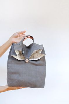 Linen lunch bag with a handle stripe linen lunch bag for