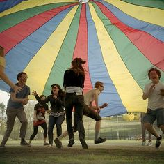 The moat AWESOME thing we ever did in preschool. We would all sit under the big parachute bubble and share secrets