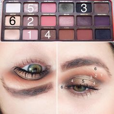 Georgia- Base Shade Cobbler- transition shade and lower Lash line Tempting- crease Caramelized- lid Luscious- center Nectar- inner corner and Brow bone highlight Can Makeup, Pale Skin Makeup, Peach Makeup, Makeup Spray, Peach Eyeshadow, Huda Beauty Makeup, Eyeshadow Looks, Eyeshadow Makeup, Drugstore Beauty