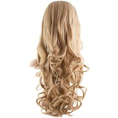 Eva Long Loose Curls Half-Head Wig In #27/613 Honey Blonde (645 MXN) ❤ liked on Polyvore featuring beauty products, haircare, hair styling tools, hair and hair styles