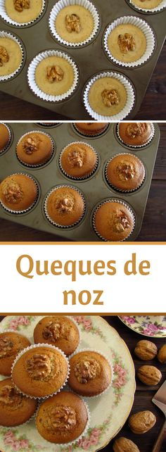 If you like dried fruits we have an excellent recipe to present to you, walnut muffins! They are quite tasty and have a fantastic presentation! At a party among friends this walnut muffins are going to make success! My Recipes, Sweet Recipes, Cake Recipes, A Food, Good Food, Food And Drink, Cupcakes, Cupcake Cakes, Food Wishes