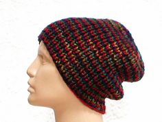 Slouchy hat or brimmed beanie knit in red cranberry navy forest green topaz mix