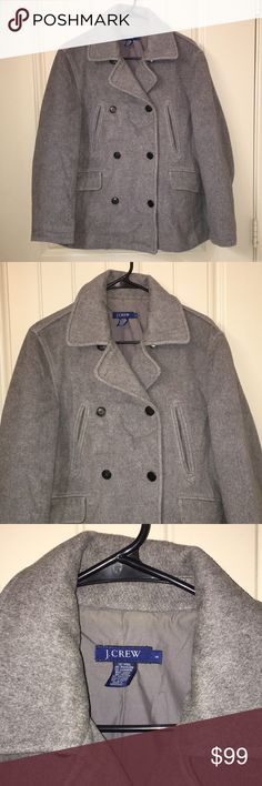 J. CREW Gray Wool Cashmere Button Pea Coat sz S This is a J. CREW Gray Wool / Cashmere Blend Button Pea Coat in a sz S, lined and in gently used condition! I ship fast! Happy poshing friends! J. Crew Jackets & Coats Pea Coats