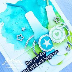 """Hello my sweet peaches! I hope that you had a beautiful weekend! I'm back to start your week off with a """"pop"""", soda pop that is. Watercolor Birthday Cards, Birthday Scrapbook, Paper Crafts, Diy Crafts, Mft Stamps, Pop Bottles, Masculine Cards, Stampin Up Cards, I Card"""
