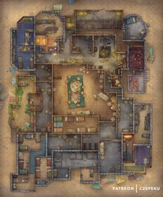 Fantasy City Map, Fantasy World, Dnd World Map, Grimgar, Building Map, Rpg Map, Dungeon Maps, Dungeon Tiles, Dungeons And Dragons Homebrew