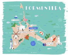 Formentera Illustrated Map on Behance Ibiza Travel, Travel Maps, Solo Travel, Es Pujols, Formentera Spain, Digital Ink, Destinations, Camping Car, Lakes