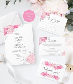 Pink Floral  Wedding Invitation Template, Editable Wedding Invitations, Printable  Invitation Suite, Instant Download, Editable Pdf. SRP-002