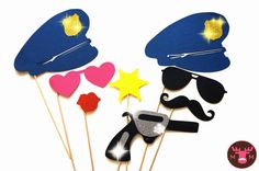 Photo Booth Props - The Deluxe Police Officer Collection - 8 piece prop set - Birthdays, Weddings, Parties - GLITTER Photobooth Props. $32.00, via Etsy.