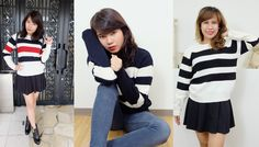 Striped Chunky Knit Sweater#autumn#outfit#japan http://www.megapui.com/index.php?id_product=379&controller=product&id_lang=1