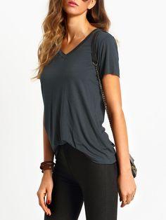 Dark Grey V Neck Short Sleeve Casual T-shirt