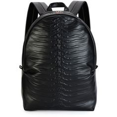 Alexander Mcqueen Ribcage-Embossed Leather Backpack (6.090 BRL) ❤ liked on Polyvore featuring men's fashion, men's bags, men's backpacks, black and mens leather backpack