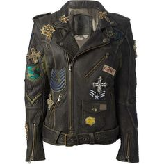 MR MRS FURS military patch jacket (€3.295) ❤ liked on Polyvore featuring outerwear, jackets, tops, military style leather jacket, pocket jacket, embellished jacket, flap jacket and embroidered jacket