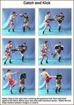 Muay Thai training drill. Catch and kick on the pads back and forth