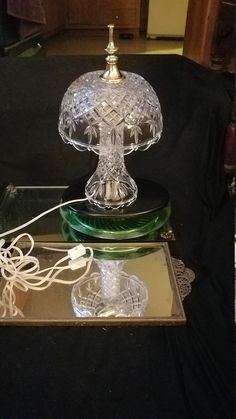Glass Dresser, Princess House Crystal, Nightstand Lamp, Vintage Dressers, Crystal Diamond, Grey Glass, Fireplace Mantle, Vintage Lamps, Cut Glass
