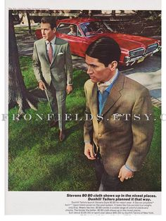 Vintage Menswear with Classic Car 1967 Magazine Ad by saffronfields, $11.99