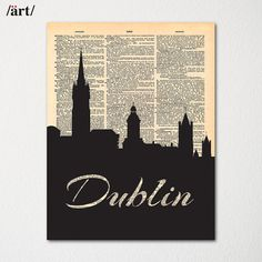 Dublin Ireland City Skyline Dictionary Art Print / Cityscape Poster / Travel Art Decor