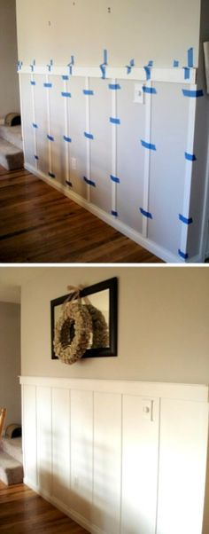 DIY wainscoting with strips of wood.- DIY wainscoting with strips of wood. — 27 Easy Remodeling Projects That Wi… DIY wainscoting with strips of wood. — 27 Easy Remodeling Projects That Will Completely Transform Your Home - Home Renovation, Bathroom Renovations, Kitchen Remodeling, Budget Bathroom, Bathroom Ideas, Remodel Bathroom, Bathroom Updates, Home Remodeling Diy, Bathroom Colors