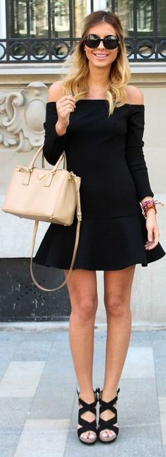 Black Long Sleeve Off Shoulder Fit And Flare Mini Dress