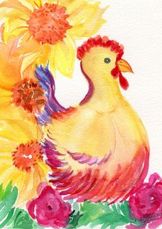 Original  watercolor painting  Hen Chicken Art by SharonFosterArt, $25.00