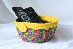 I handmade this cute Rainbow Fabric Basket ....Handmade by me... Great Remote Control holder, crayon holder box, lego storage. by WexfordTreasures