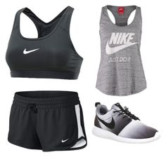 """""""Nike gym ! Black and Grey"""" by amore-e ❤ liked on Polyvore featuring NIKE"""